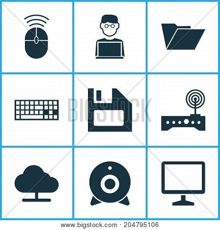 Computer Icons Set. Collection Of Router, Programmer, Keypad And Other Elements