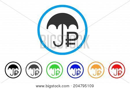 Rouble Umbrella rounded icon. Style is a flat rouble umbrella gray symbol inside light blue circle with black, gray, green, blue, red, orange color versions.