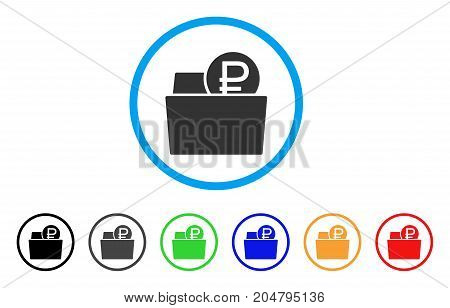 Rouble Wallet rounded icon. Style is a flat rouble wallet grey symbol inside light blue circle with black, gray, green, blue, red, orange variants. Vector designed for web and software interfaces.