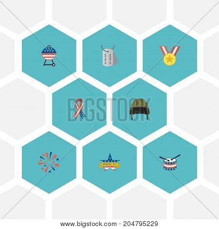 Flat Icons Memorial Day, Musical Instrument, Medallion And Other Vector Elements