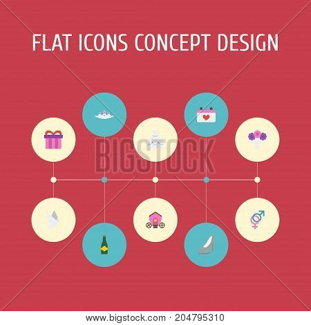 Flat Icons Accessories, Calendar, Present And Other Vector Elements