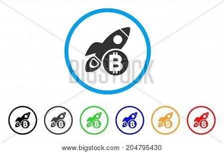 Bitcoin Rocket rounded icon. Style is a flat bitcoin rocket grey symbol inside light blue circle with black, gray, green, blue, red, orange variants. Vector designed for web and software interfaces.