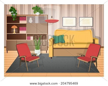 Interior of living room furnished with retro furniture and old-fashioned home decorations - cozy sofa, armchairs, shelving, house plants, lamp, carpet. Vector illustration in flat cartoon style