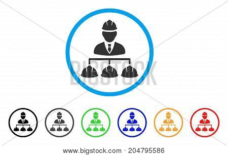 Builder Management rounded icon. Style is a flat builder management gray symbol inside light blue circle with black, gray, green, blue, red, orange variants.
