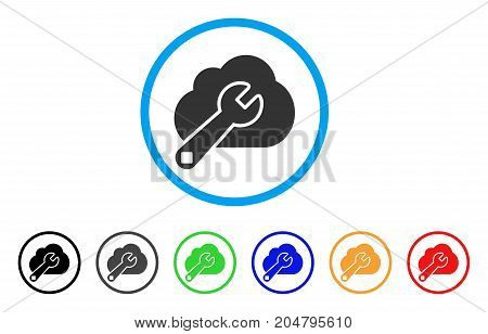 Cloud Options rounded icon. Style is a flat cloud options gray symbol inside light blue circle with black, gray, green, blue, red, orange versions. Vector designed for web and software interfaces.