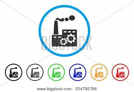 Factory Building rounded icon. Style is a flat factory building gray symbol inside light blue circle with black, gray, green, blue, red, orange variants.