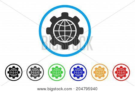 Global Options rounded icon. Style is a flat global options gray symbol inside light blue circle with black, gray, green, blue, red, orange versions. Vector designed for web and software interfaces.