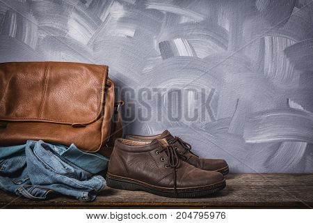 Vintage Leather Bag And Clothing Men Style.