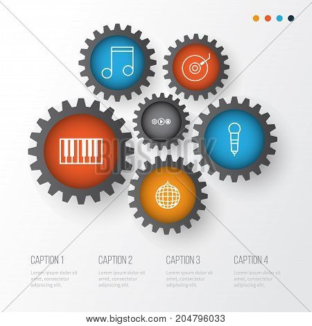 Music Icons Set. Collection Of Gramophone, Piano, Microphone And Other Elements