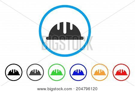 Helmet rounded icon. Style is a flat helmet gray symbol inside light blue circle with black, gray, green, blue, red, orange versions. Vector designed for web and software interfaces.