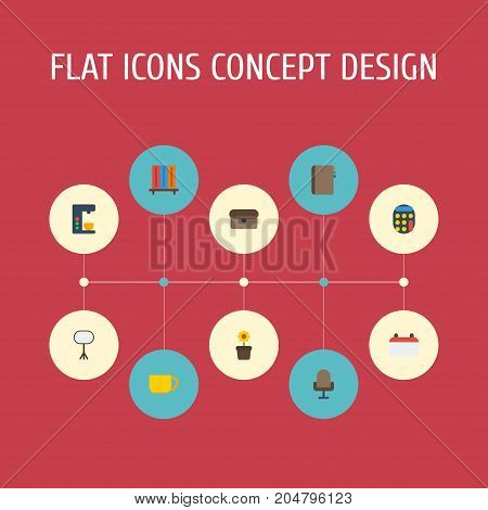 Flat Icons Contact, Tea, Espresso Machine And Other Vector Elements