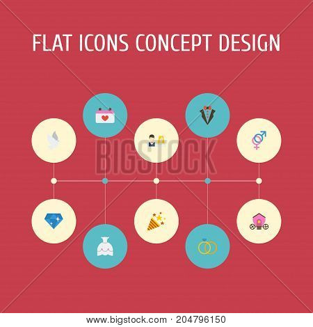 Flat Icons Chariot, Sparkler, Sexuality Symbol And Other Vector Elements