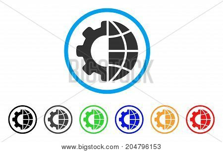 International Manufacture rounded icon. Style is a flat international manufacture grey symbol inside light blue circle with black, gray, green, blue, red, orange versions.