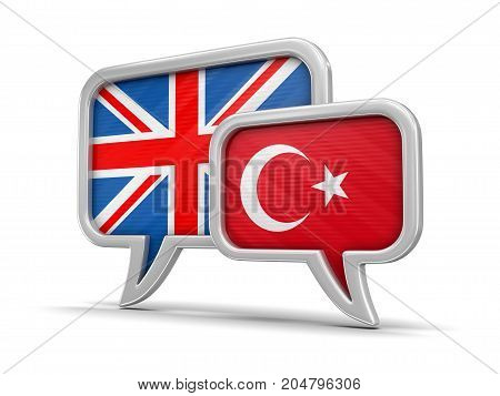 3d Illustration. Speech bubbles with UK and Turkey flags. Image with clipping path