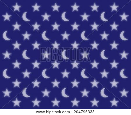 Glowing moons and stars pattern on a dark blue sky blurred background