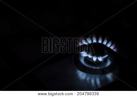 Fire of gas stove on a black background.