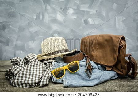 Men apparel vintage fashion set on wooden background clothes item old wear hipster design.
