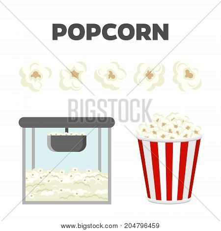 Popcorn set. Colorful vector constructor, cute style, isolated on white background
