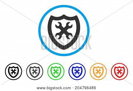 Security Configuration rounded icon. Style is a flat security configuration grey symbol inside light blue circle with black, gray, green, blue, red, orange versions.
