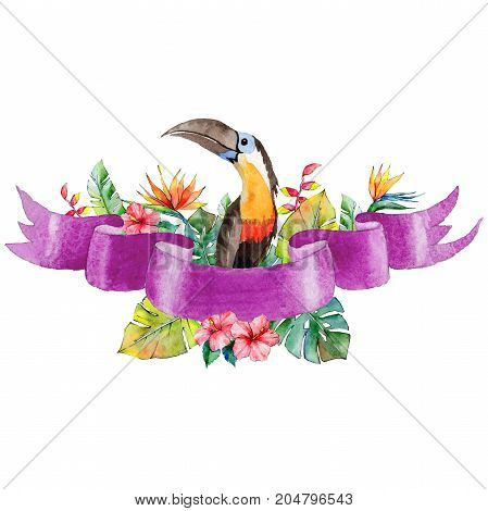 Watercolor holiday violet ribbon bow and toucan greeting illustration. Festive decoration bunting clip art. Birthday party design elements set. Isolated on white background.