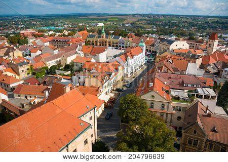 Aerial view of Melnik, city in Bohemia region in Czech Republic