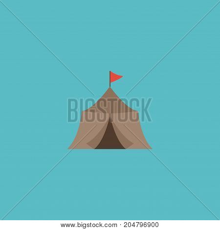 Flat Icon Medieval Barracks Element. Vector Illustration Of Flat Icon Tent Isolated On Clean Background