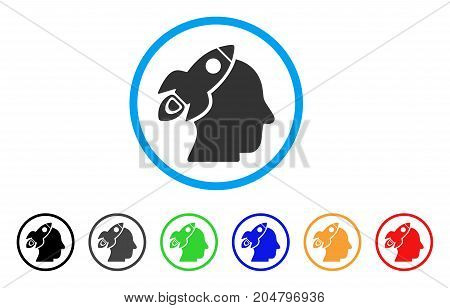 Space Rocket Thinking Head rounded icon. Style is a flat space rocket thinking head grey symbol inside light blue circle with black, gray, green, blue, red, orange variants.