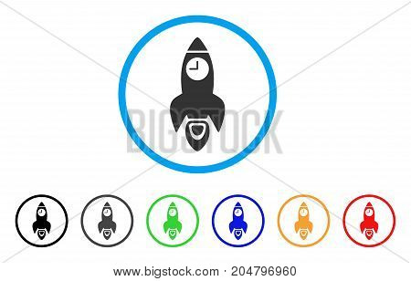 Space Rocket Time rounded icon. Style is a flat space rocket time grey symbol inside light blue circle with black, gray, green, blue, red, orange color versions.