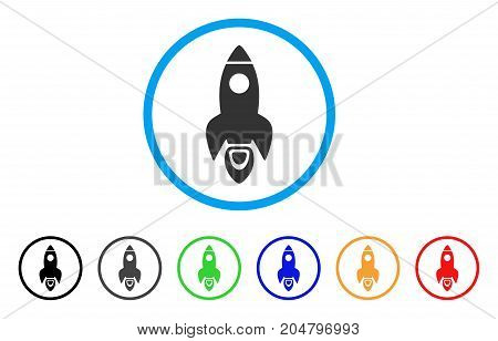Space Rocket rounded icon. Style is a flat space rocket gray symbol inside light blue circle with black, gray, green, blue, red, orange versions. Vector designed for web and software interfaces.