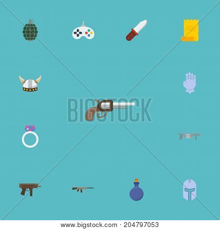 Flat Icons Parchment, Flask, Viking Helmet And Other Vector Elements
