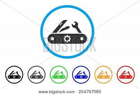 Swiss Knife rounded icon. Style is a flat swiss knife gray symbol inside light blue circle with black, gray, green, blue, red, orange color versions. Vector designed for web and software interfaces.