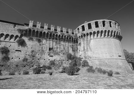 Imola (Bologna Emilia Romagna Italy): the medieval castle exterior. Black and white