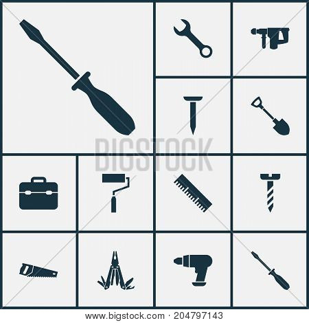 Handtools Icons Set. Collection Of Turn-Screw, Handsaw, Paint Elements
