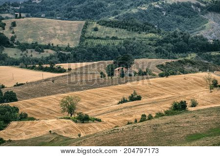 Summer landscape along the road from Guiglia to Bologna (Emilia Romagna Italy)