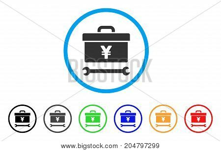 Yen Toolbox rounded icon. Style is a flat yen toolbox grey symbol inside light blue circle with black, gray, green, blue, red, orange color versions. Vector designed for web and software interfaces.