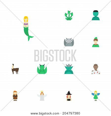 Flat Icons Character, Magic, Mythology And Other Vector Elements