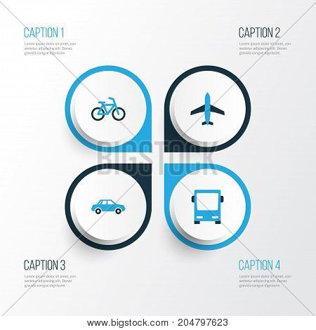 Shipment Colorful Icons Set. Collection Of Auto, Bicycle, Autobus And Other Elements