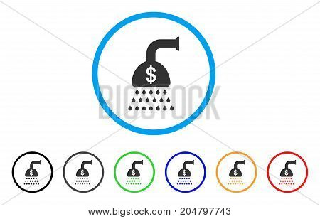 Payment Shower rounded icon. Style is a flat payment shower grey symbol inside light blue circle with black, gray, green, blue, red, orange versions. Vector designed for web and software interfaces.