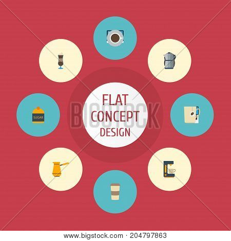 Flat Icons Sweetener, Espresso Dispenser, Mocha And Other Vector Elements