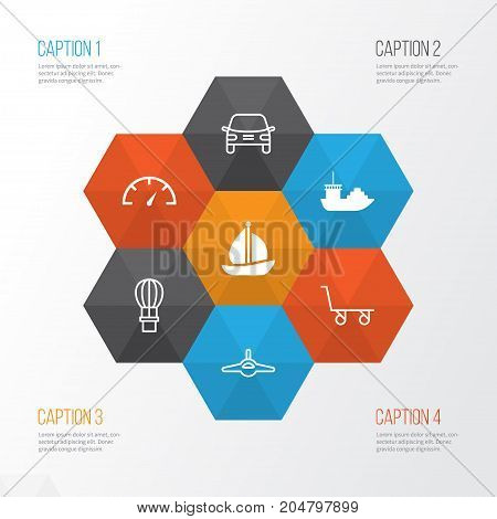 Shipping Icons Set. Collection Of Tanker, Automobile, Cargo Cart And Other Elements
