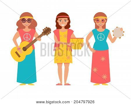 Music band hippie. Vector. Cartoon. Isolated art on white background. Flat