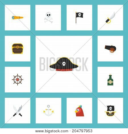 Flat Icons Sabre, Vessel, Macaw And Other Vector Elements
