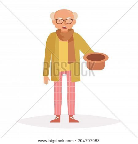 Old man asking for money. Vector. Cartoon. Isolated art on white background. Flat.