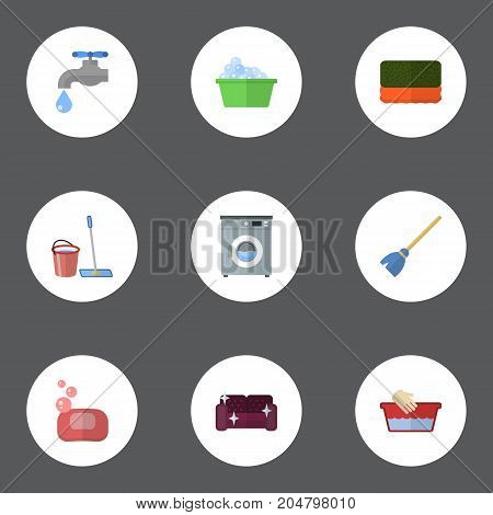 Flat Icons Laundromat, Besom, Wisp And Other Vector Elements