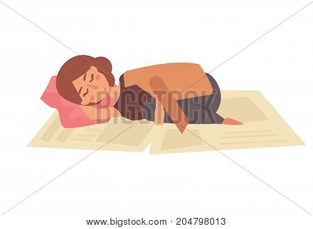 Homeless sleeping on the street on newspapers. Vector. Cartoon. Isolated art on white background. Flat.