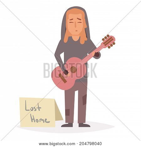 Homeless man plays guitar. Vector. Cartoon. Isolated art on white background. Flat