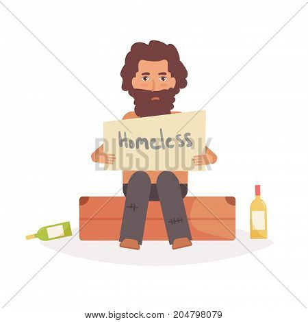Homeless man sits on a suitcase. Vector. Cartoon. Isolated art on white background. Flat.