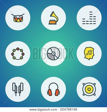 Music Colorful Outline Icons Set. Collection Of Gramophone, Tambourine, Lover And Other Elements