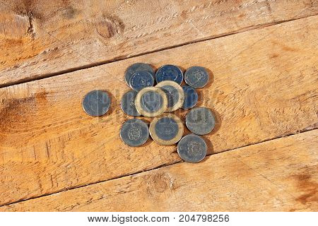Coins of Morocco. Close up picture of Moroccan dirham. money