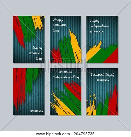 Lithuania Patriotic Cards For National Day. Expressive Brush Stroke In National Flag Colors On Dark